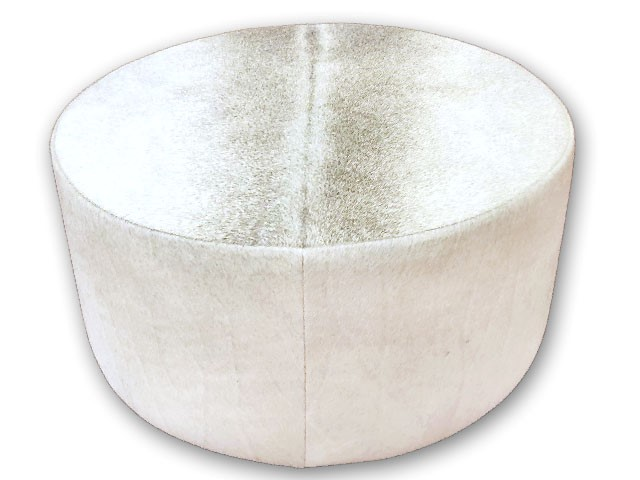 Round Ottoman Grey The Cowhide Company